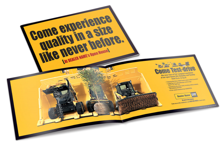 CAT Caterpillar equipment new compact size campaign Mailer Mockup